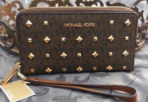 MICHAEL KORS~Signature STUD Lg Flat MF PHONE CASE Wristlet Wallet~BROWN~NWT $188