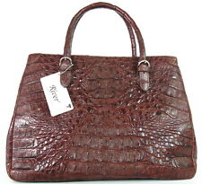 100% HORNBACK GENUINE CROCODILE LEATHER HANDBAG BAG TOTE SHINY DARK BROWN NEW
