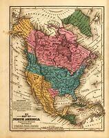 MAP MITCHELL 1839 SCHOOL ATLAS NORTH AMERICA LARGE REPLICA POSTER PRINT PAM1127