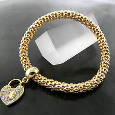 FSA657 GENUINE REAL 18K YELLOW G/F GOLD DIAMOND SIMULATED HEART BANGLE BRACELET