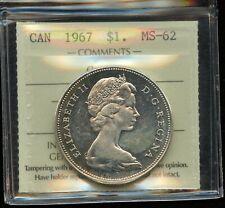1967 Canada $1 Centennial Silver Dollar ICCS MS-62 Cameo Cert #XQE277