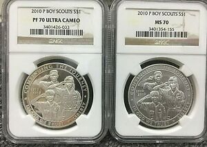 2010 P Boy Scouts Commemorative Silver NGC MS-70 & PF-70 Ultra Cameo 2-COIN SET