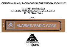 Citroen XM / Xantia / Saxo / Synergie (Evasion) Radio Code / Alarme Stickers