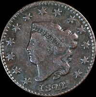 1822 Coronet Head Large Cent, Great Strike, Higher Grade Collectors Coin