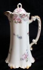 DAINTY Haviland Limoges France Blue & Pink Flowers Coffee / Teapot Gold trim