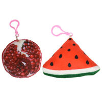 2 Keychains 1 Pomegranate 1 Watermelon Backpack Squishy Plush Childs Key Chains