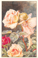 Flower Fairy Postcard: Young Fairy in Pink with Red and Pink Roses