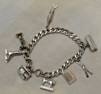 Sterling Silver Charm Bracelet with Eight (8) Charms