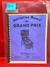 Grand Prix Pinball Operation/Service/Repair/ Troubleshooting Manual Williams G12