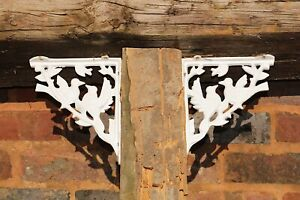 Corner Shelf Brackets Pair Heavy Wrought Ironmongery Ornate Birds Indoor/Outdoor