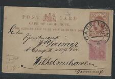 CAPE OF GOOD HOPE (1012B) QV 1/2D PSC UPRATED 3D 1892 TO GERMANY