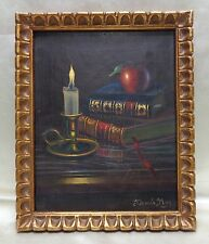 Dennis May Estate Found Antique Books & Candlestick Still Life Oil Painting
