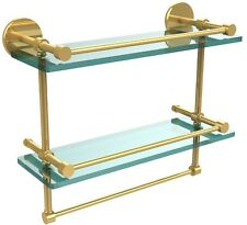 "Allied Brass Prestige Skyline 16"" Wide Bathroom Wall Shelf Polished Brass"