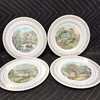 """Vintage Currier and Ives seasons plates Japan 8"""" Summer Winter Spring Fall"""