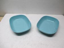 New listing Vtg 2 Ea Texas Ware Melamine Aqua Turquoise Rectangle Bowl Serving Dish Nice!