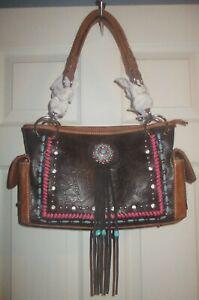 NWT Montana West leather purse Santa Fe southwest style handbag embellished