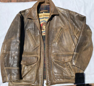 CHEVIGNON AVIATOR LEATHER JACKET Brown Soft Leather 6 Front Pockets XL/L