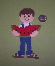 1 Boy with Watermelon Premade PAPER Die Cuts / Scrapbook & Card Making