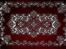 "New Heritage Lace Artistry 52"" x 68"" Rectangle Burgundy Cut Work StyleTablecloth"