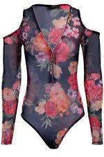 Ladies Cold Shoulder Sheer See Through Mesh Zipper V Neck Floral Leotard Body