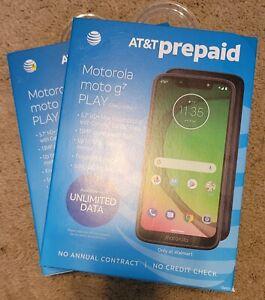 """2x AT&T MOTOROLA MOTO G7 PLAY PREPAID PHONE 5.7"""" Max Vision Display  Sealed NEW"""