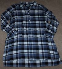 NWT DKNY $62 Black/White/Blue PLAID Button-Front Sleep Shirt Gown 2X POCKETS