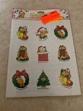 Vtg 1978 Garfield Cartoon Cat Stickers Christmas Winter Holiday