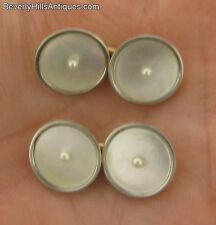 Pair of Antique 14k Gold Mother of Pearl & Pearls Cufflinks