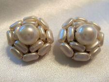 (HONG KONG) INCREDIBLE Vintage Faux PEARL Cluster Style CLIP Earrings 13EE83