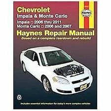 Chevrolet Impala & Monte Carlo: Impala 2006 Thru 2011; Monte Carlo 2006 and 2007