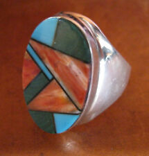 Navajo Sterling Silver Ring with Inlaid Stones, Stamped and Signed G