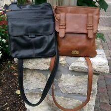 Auth Lot of 2 FOSSIL Black & Brown Leather Handbags Purses Crossbody Bags