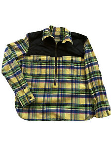 Polo Ralph Lauren Boys Yellow 1/2 Zip Pullover  Plaid Flannel Shirt Size L  - 6