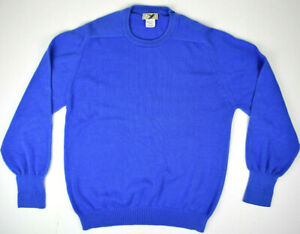 Vintage 80s Eddie Bauer Blue Cotton Knit Crewneck Pullover Sweater Sz L Made USA