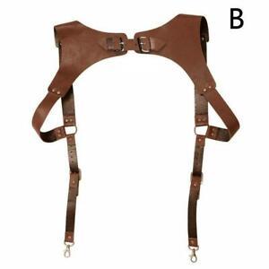 Men's Leather Vest Straps Braces Belts
