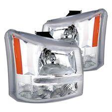 03-06 Chevy Silverado 1500/2500/3500 HD 1 piece Headlight Bumper Chrome Amber