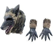 Adults Werewolf Wolf Grey Fairytale Halloween Mask Claws Gloves Costume Kit