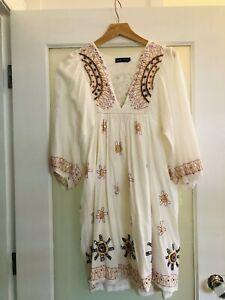 Antik batik Embroidered Babydoll Boho Dress Size 38