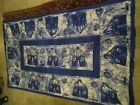 """Vintage Hand Dyed Batik Indigo Tablecloth Tapestry Coverlet Lined 81"""" x 50"""""""