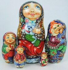 "5pcs  Hand Painted Russian Nesting Doll "" Christmas Time"" by Pokrovskaya"