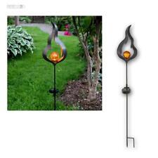 Metall Solar LED Gartenstab MELILLA Flamme Glas-Kugel Design Gartenleuchte NEU