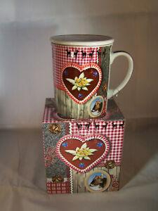 Teetasse mit Sieb und Deckel aus Porzellan - Motiv - Edelweiss * Cha Cult *