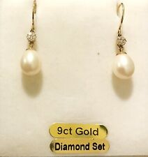 9ct Solid Gold, Freshwater Pearl & Diamond Drop Earrings