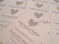 Set of 10 Personalised Handmade Glitter Heart Bling Wedding Invitations