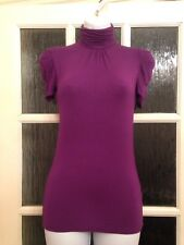 New Look Fitted Purple High Neck Short Sleeve Top GC Size 8