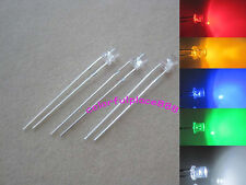 100pcs, 3mm Red Yellow Blue Green White Flat Top LED Wide Angle Leds + Resistors