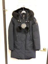 MOOSE KNUCKLES NAVY W BLACK Stirling Fox Fur Trimmed Long Parka SIZE: S