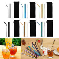 5pcs Metal Drinking Straws Stainless Steel Drink Straw Cleaner Party Reusable