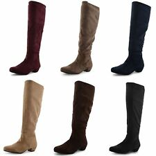 Women's Knee High Block Pull on Faux Suede Boots