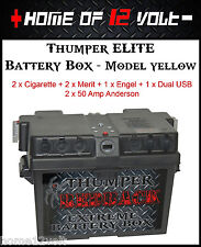 Thumper ELITE Battery Box Yellow 2x Cigarette 2x Merit 1x Engel 1x Dual USB